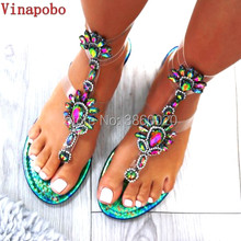 Tangnest Summer Women Flat Rhinestone Sandals Casual Gladiators Fashion Crystal Slip On Women Shoes Gold White plus Size 35-43(China)