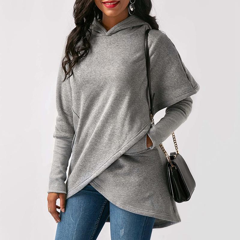 ISHINE Hooded Sweatshirt Women Pullover Cross Out Winter Cashmere Backless Streetwear Jumper Oversize