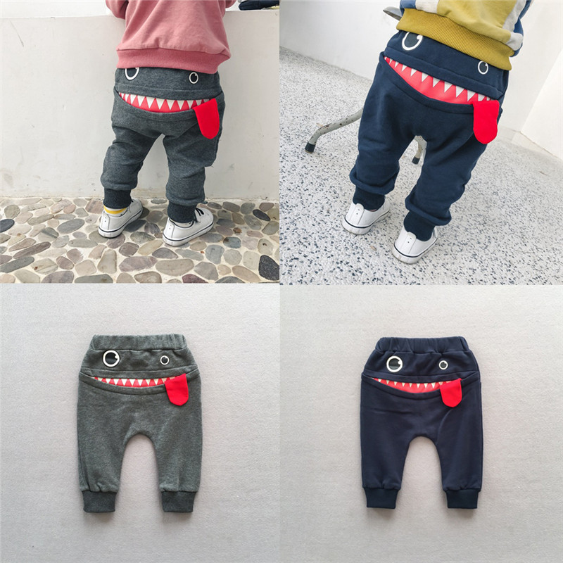 Toddler Kids Naughty  Pure Cotton Pants Cartoon Big Mouth Monster Style Trousers Fashion