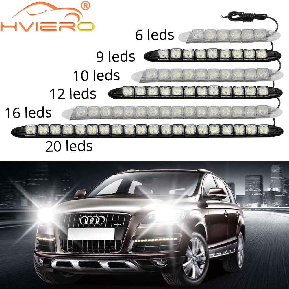 Hot sell! 2pcs/lot Super White 8 LED Daytime Running Lights Drl Light Bar Parking Car Fog Lights Strobe Light 12V DC Head Lamp