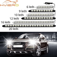 цена на Hot sell!  2pcs/lot Super White 8 LED Daytime Running Lights Drl Light Bar Parking Car Fog Lights Strobe Light 12V DC Head Lamp