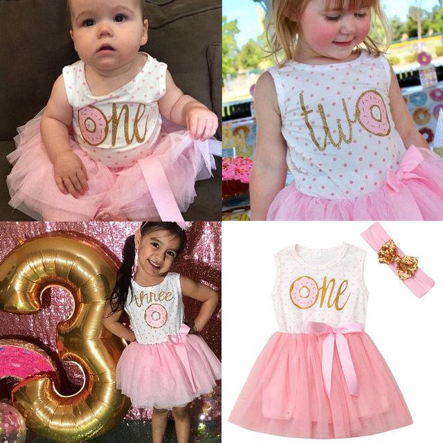 2019 חדש לגמרי נסיכת פעוט תינוקת טוטו יום הולדת שמלת סרט 2 PCS Donut הדפסת ראשון שני שלישי יום הולדת שמלת תלבושת