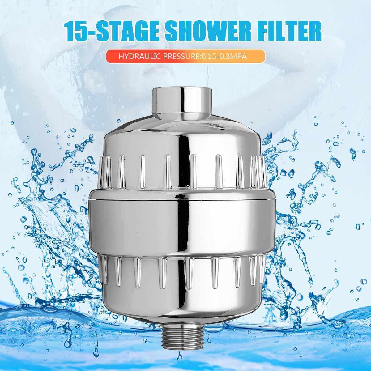 15 حمام منقي مياه الحمام فلتر الاستحمام 1/2 ''العالمي معالجة المياه الصحية المنقي إزالة الكلور عالية الانتاج