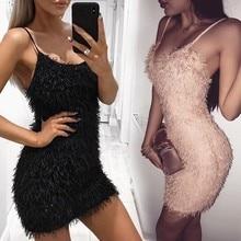Essayer Tout Mode robe sexy Partie robe pour femme 2019 Serré Balck  Spagetti Strap Fringe Robe · 2 Couleurs Disponibles bcef4c6661c0