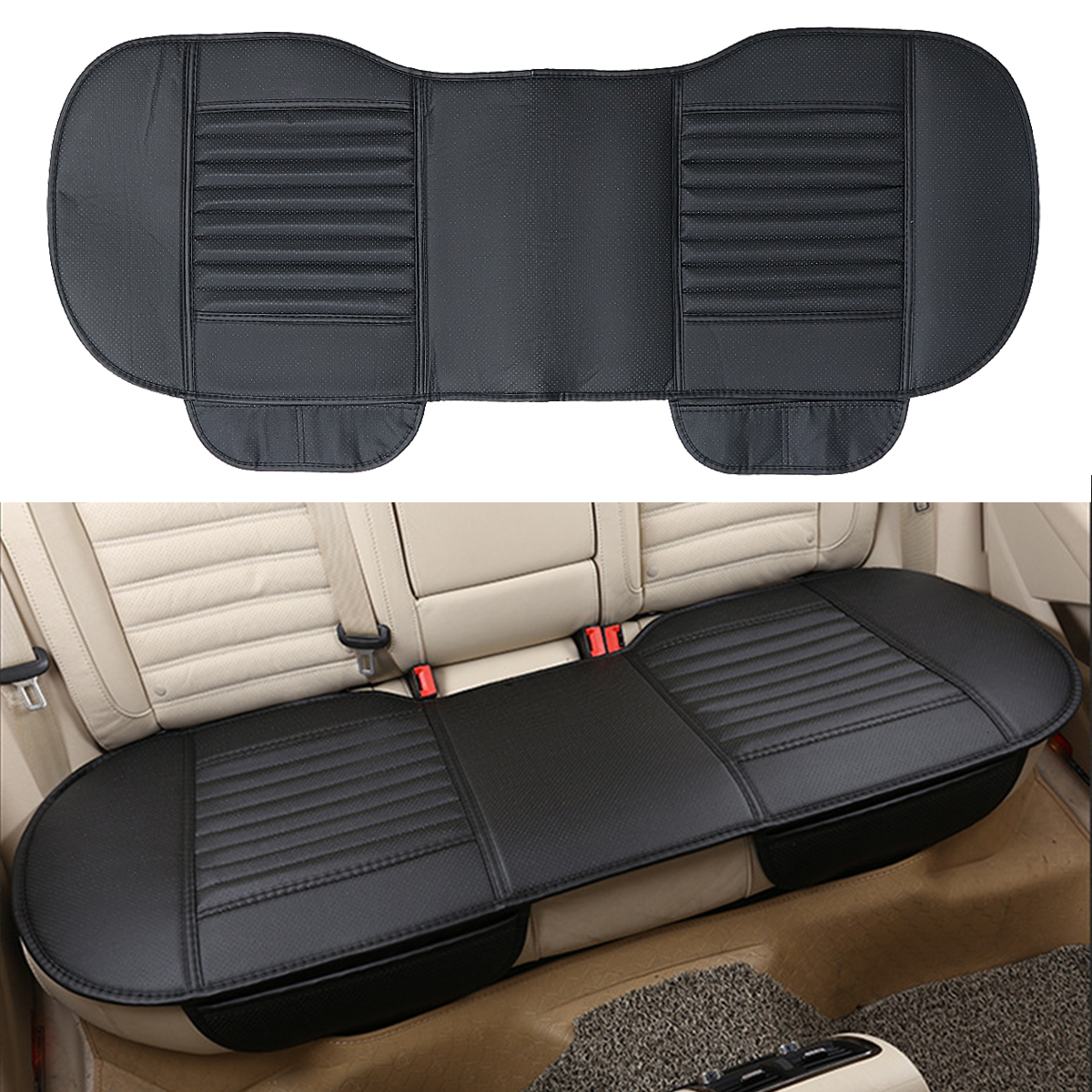 Car Back Seat PU Leather Charcoal Waterproof Auto Pad Seat Cushion Mat With Pocket Cover Protector Car Interior Accessories