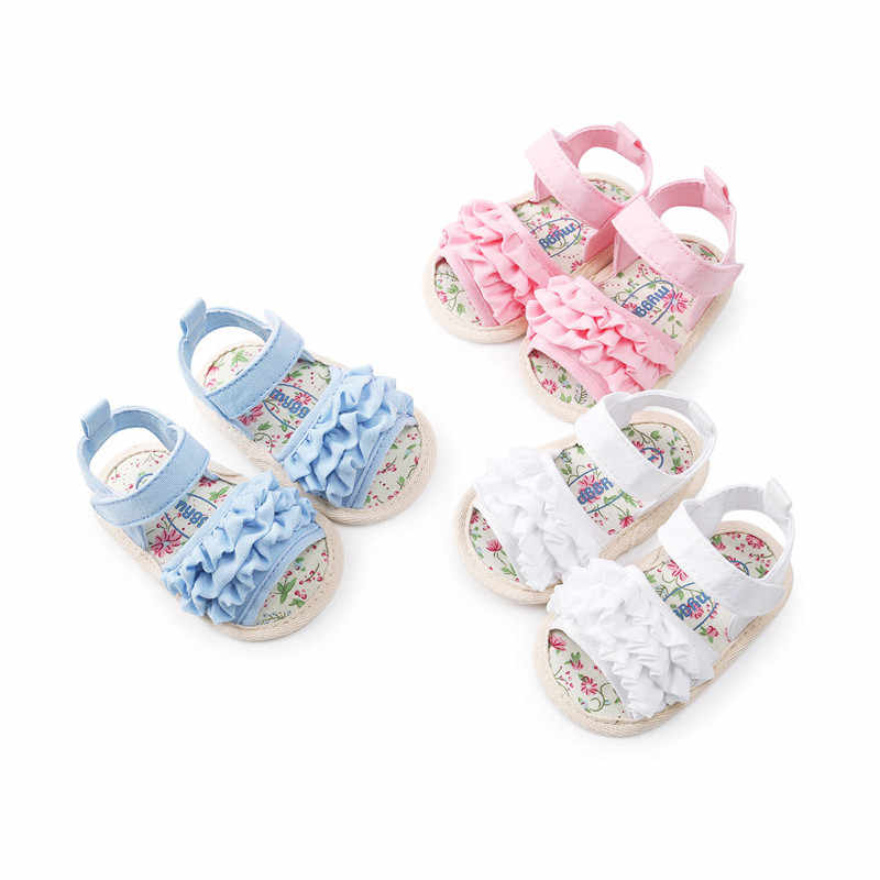 Baby Girl Sandals Summer Baby Girl Shoes Cotton Canvas Ruffle Baby Girl Sandals Newborn Baby First Walkers Shoes Sandals 0-18M