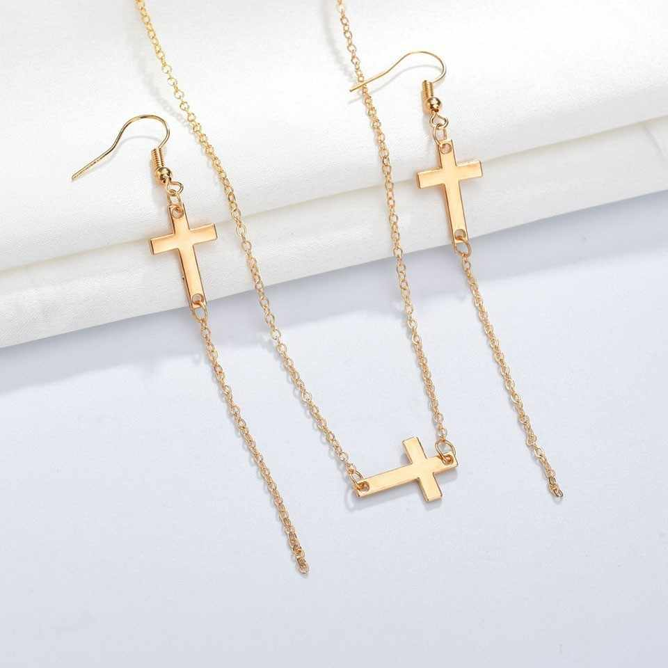 YANGQI Women Fashion Cross Pendant Necklace Trendy Jewelry Female Hot Design Female Necklace Birthday Gift for Girl Friend