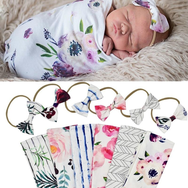 BalleenShiny Lovely Newborn Baby Blankets&Hairband Set Soft Swaddle Wrap Bowkont Headband Baby Bedding Bath Towel Photograph Pro