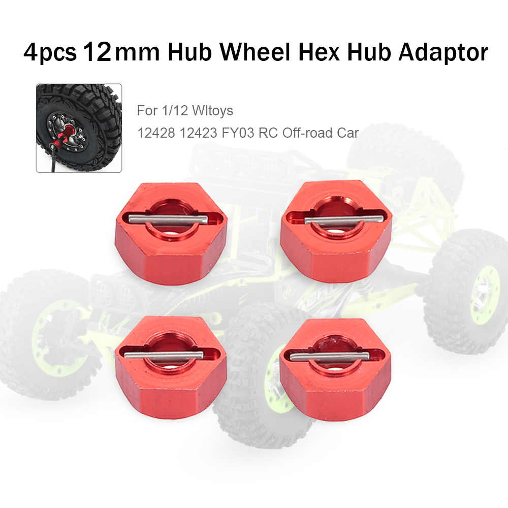 12mm Metalen Hub Wiel Hex Adapter voor 1/12 Wltoys 12428 12423 FY03 Hopup Onderdelen RC Off-road Auto crawler 4pcs