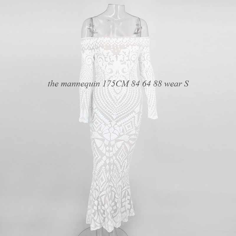 NATTEMAID с открытыми плечами Макси белое длинное платье 2019 сетка Bodycon Sequin платье женское без бретелек Вечерние сексуальные летние платья Vestido