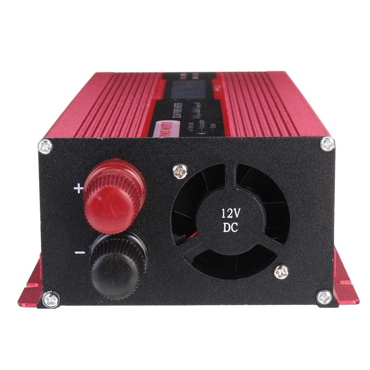 Onduleur solaire à onde sinusoïdale modifiée de crête 4000 W DC12V à AC220V convertisseur d'intelligence numérique LCD de voiture + Clip négatif positif - 5