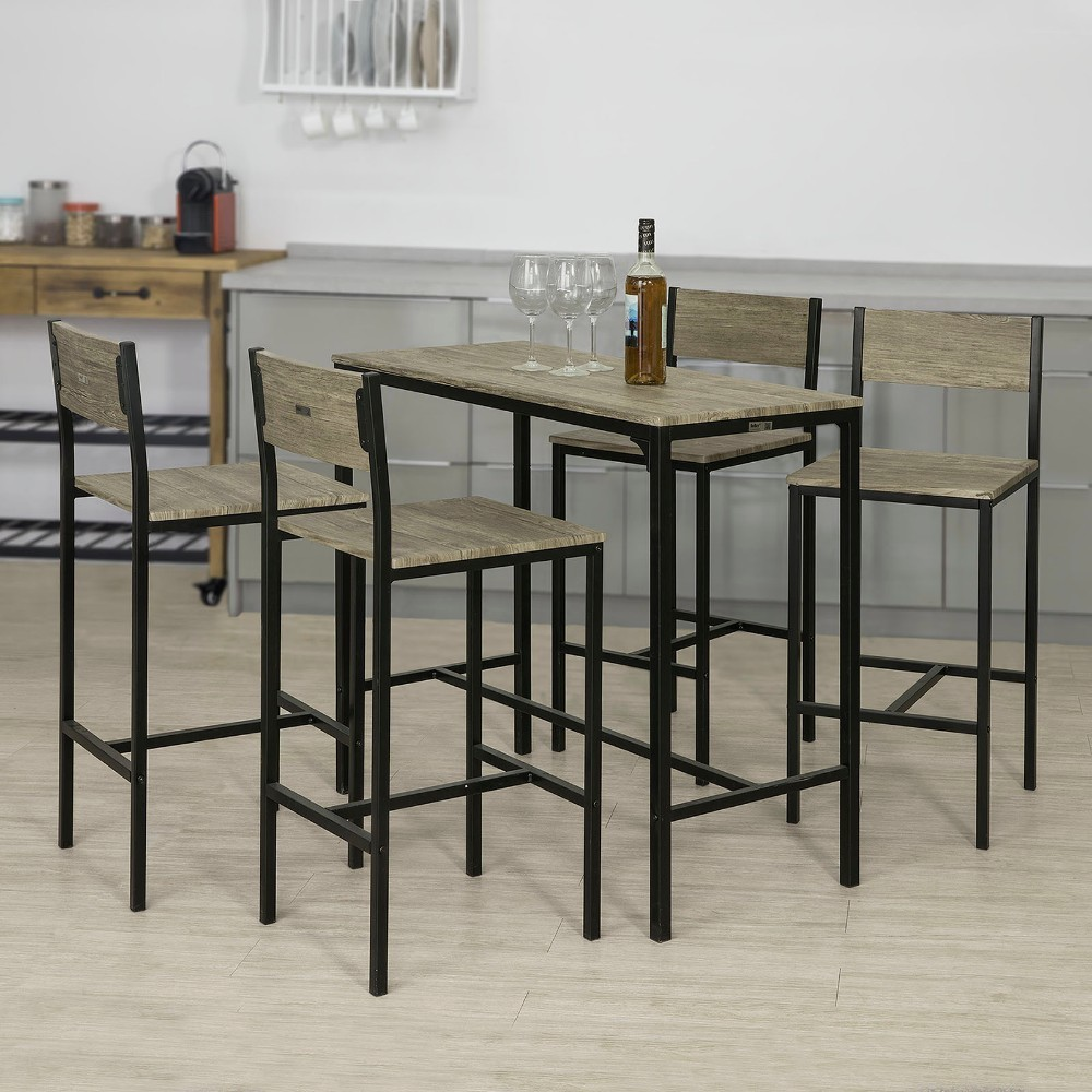 SoBuy OGT14, 5 Pieces Bar Set-1 Bar Table and 4 Stools, Kitchen Breakfast Bar Set Bistro Pub Dining SetSoBuy OGT14, 5 Pieces Bar Set-1 Bar Table and 4 Stools, Kitchen Breakfast Bar Set Bistro Pub Dining Set