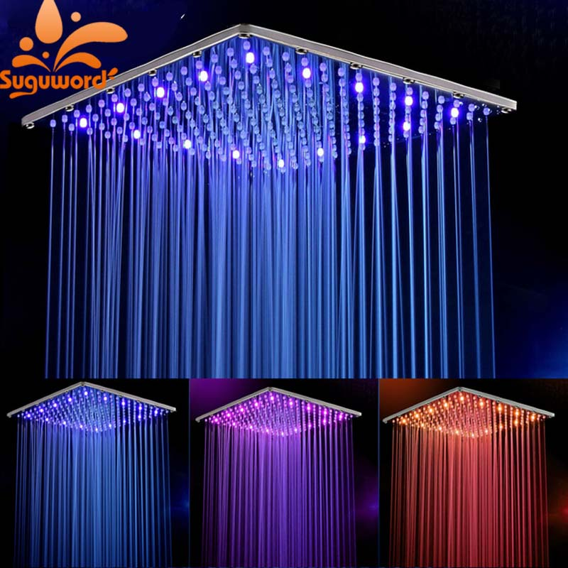 10 Inch 25cm * 25cm Water Powered Rain Led Shower Head Without Shower Arm.Bathroom 3 Colors Led Showerhead. Chuveiro Led. universal 25cm page 3