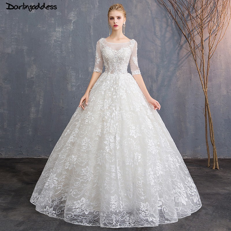 Luxury Lace Ball Gown Wedding Dresses 1/2 Sleeves Floor Length Wedding Dress Plus Size Open Back Weeding Dresses 2018