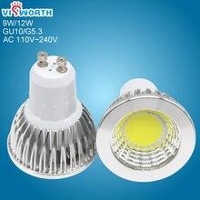 Ultra Bright gu10 g5.3 led spotlight 9w 12w cob 1pcs led lamp ac 110v 220v 240v CE/RoHS Warm/Cool White led bulb for livingroom