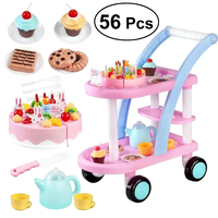 56pcs Birthday Cake Trolley Funny Role Play Playing House Pretend Play Playset for Kids Children