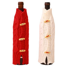 New Solid Red Wine Bottle Cover Bags Red White Creartive Knit Christmas  Party Decoration Gift Set 6a48e9d76df58
