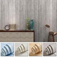 3D Roll Of Wall Stickers Fine pressed Retro Nostalgic Wood grain Non woven Wall Sticker For Bedroom Hotel