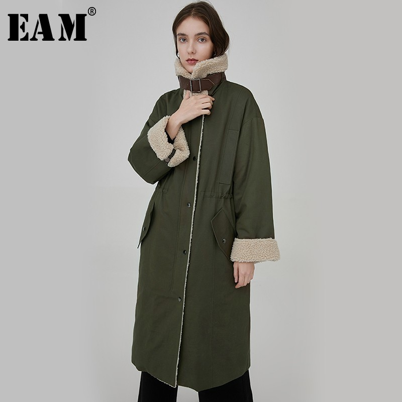 [EAM] 2019 New Spring Winter Stand Collar Long Sleeve Lambswool Big Size Cotton-padded Coat Women Parkas Fashion Tide JL818