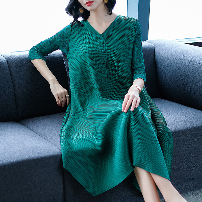 DEAT Fashion New V neck Solid Loose 2019 Women Dress Casual Hot Sale Trendy Spring Tide Summer Clothes BF866-in Dresses from Women's Clothing    1