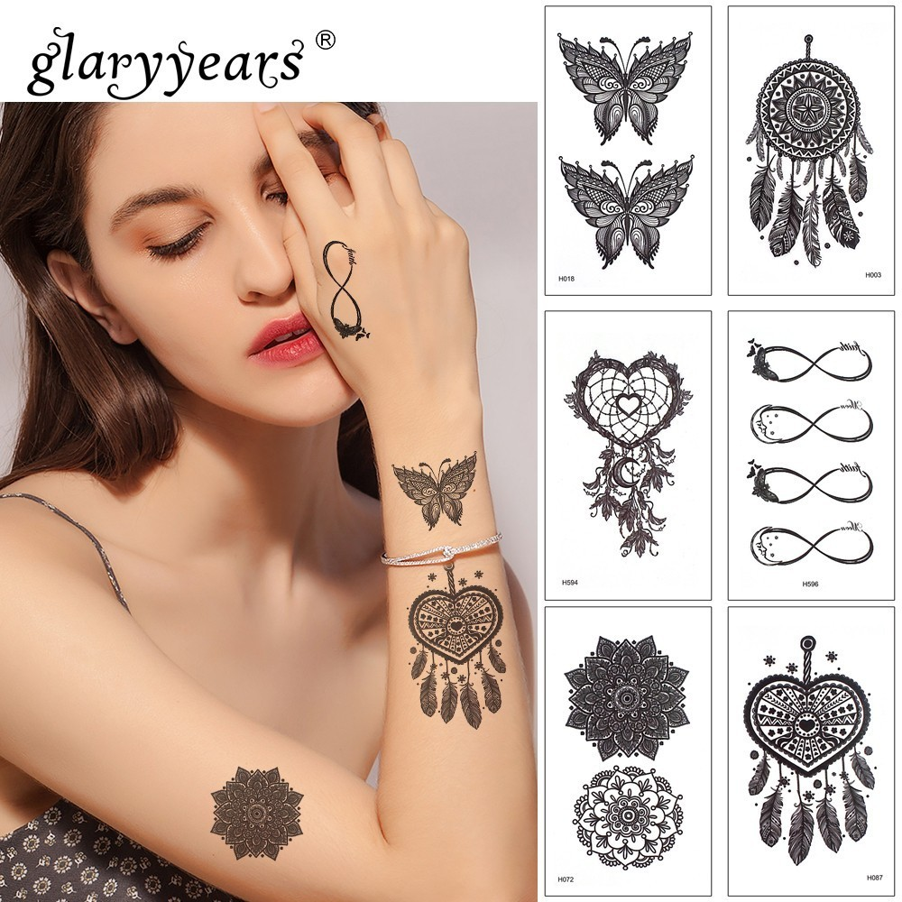 Glaryyears 1 Sheet Temporary Tattoo Sticker Black Fake Tatoo Owl Flash Tatto Waterproof Small Body Art Men Women H 25 Designs