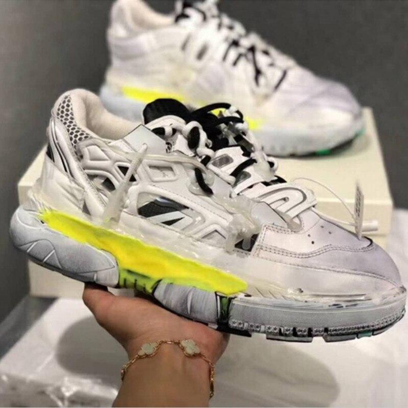 Super mode Chunky plate-forme Sneaker pour femmes 2019 Ins mode vieux Style blanc noir formateurs en cuir véritable femmes chaussures