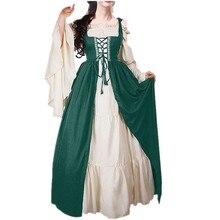 купить Spring Vintage Medieval Style Frill Lace Red Green Long Dress Vestidos Festive Clothes Party Dress Bundled Corset Two-piece Suit по цене 1490.55 рублей