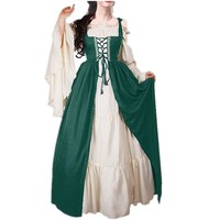 Spring Vintage Medieval Style Frill Lace Red Green Long Dress Vestidos Festive Clothes Party Dress Bundled Corset Two piece Suit