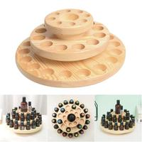 High Quality 39 Slots Three Layers Essential Oil Storage Box Circle Wooden Case Aromatherapy Organizer Solid Wood Display Stand