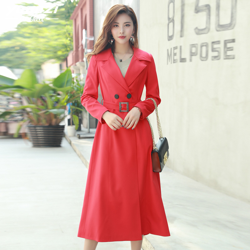 2019 New Fashion Designer Brand Classic Womens Windbreakers Red   Trench   Coat Female Double Breasted Women Overcoat real photos