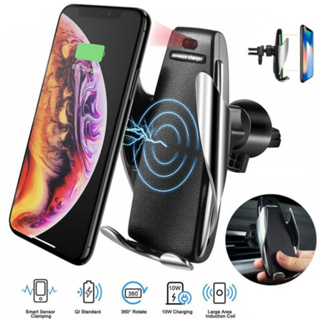 S5 Car QI Wireless Charger Smart Automatic Clamping 10W Fast Charging Infrared Auto-sens Air Vent Mount Car Charger Holder