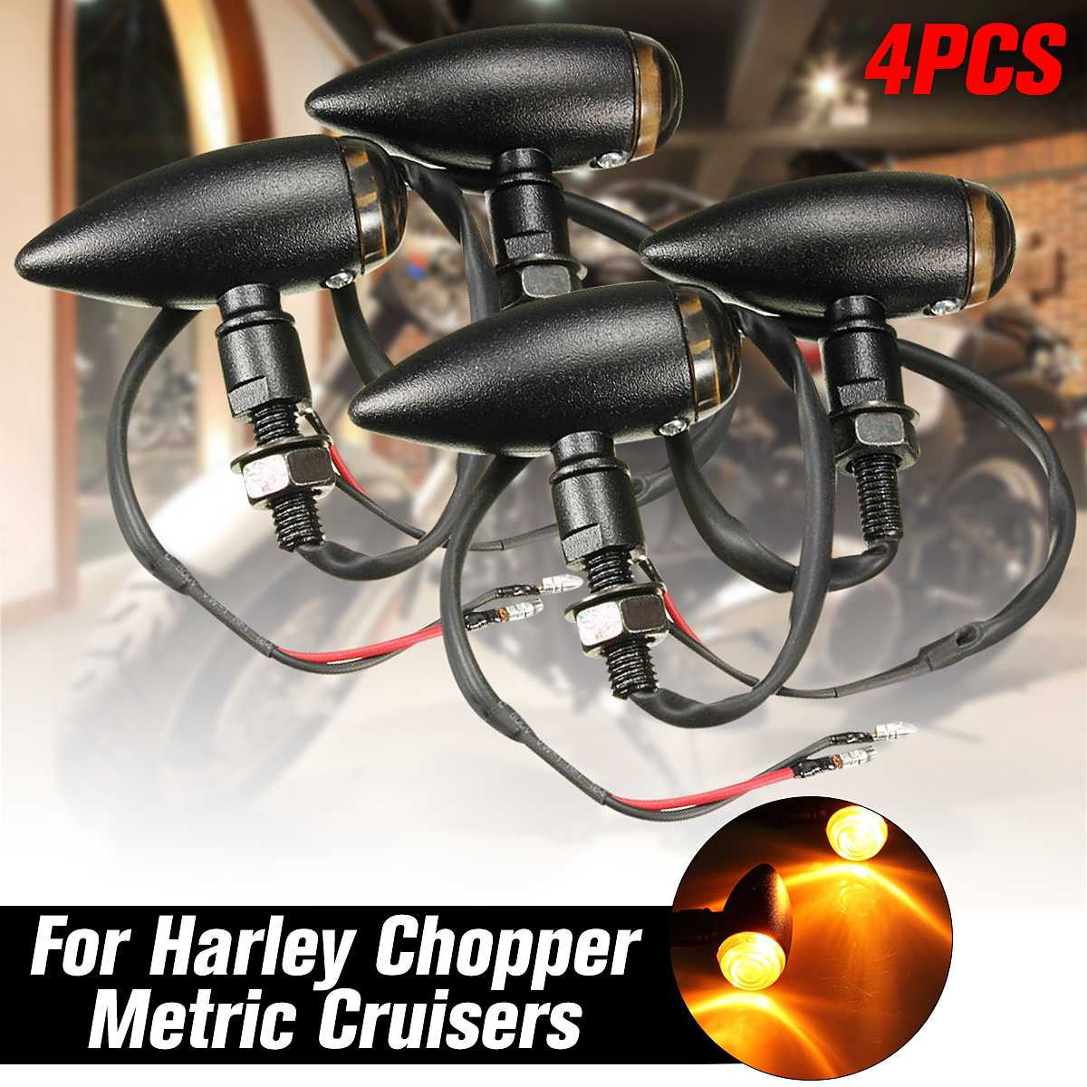 4pcs Universal Bullet Turn Signal Light Indicator Lamp Amber Motorcycle For Honda Yamaha Suzuki