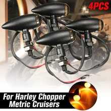 4 шт. Универсальный пуля поворотов Свет индикаторная лампа янтарного цвета мотоцикл для Harley Sportster Bobber мини-чоппер
