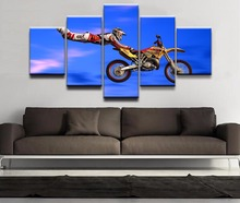 5 Panels Modern HD Printed Freestyle Motocross Superman Painting Wall Art Picture Canvas For Living Room Modular Pictures