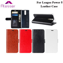 Alesser For Leagoo Power 5 Leather Case Flip Cover 5.99'' With Card Pocket Protective Case For Leagoo Power 5 Phone Coque(China)
