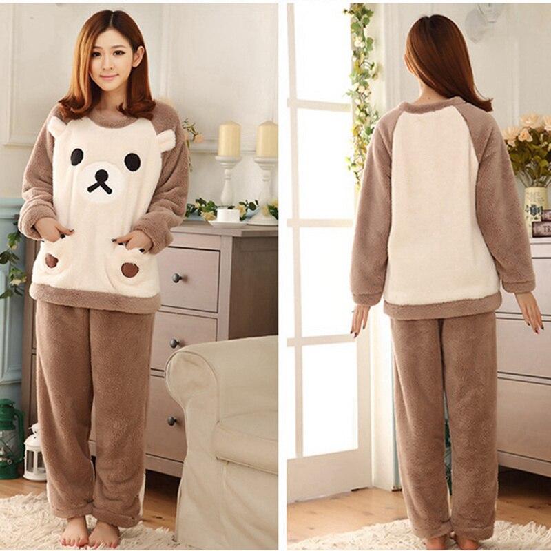 Two piece bear Pajama Set Nightwear Pijama Home Suit lingerie Warm Pyjama long sleeves velour women loungewear M-XXL