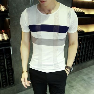 Summer men's new round neck Korean version of the self-cultivation thin section ice silk sweater line openwork striped T-shirt