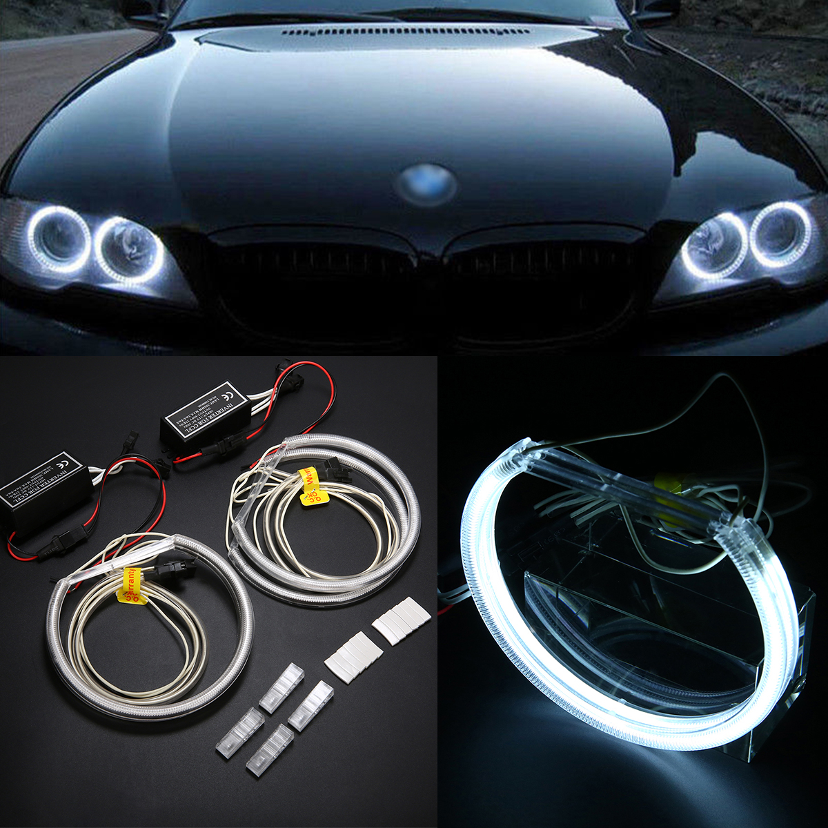 "KDM 3/"" PROJECTOR FOG LAMPS WHITE CCFL HALO RING+DUAL SWITCH FOR HYUNDAI CAR USA"