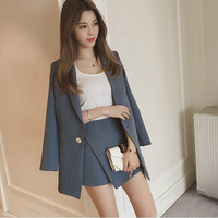 Fashion Women Skirt Suit Korean Simple Striped Blazer Jackets And Slim Mini Skirts Two Pieces OL Sets Female Outfits 2018 Blue