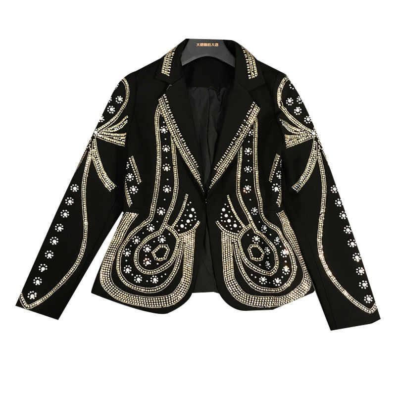 DEAT 2020 yeni bahar Turn-down yaka tam kollu Metal boncuklu hiçbir düğme kısa ceket kadın tek takım elbise WF18501L siyah