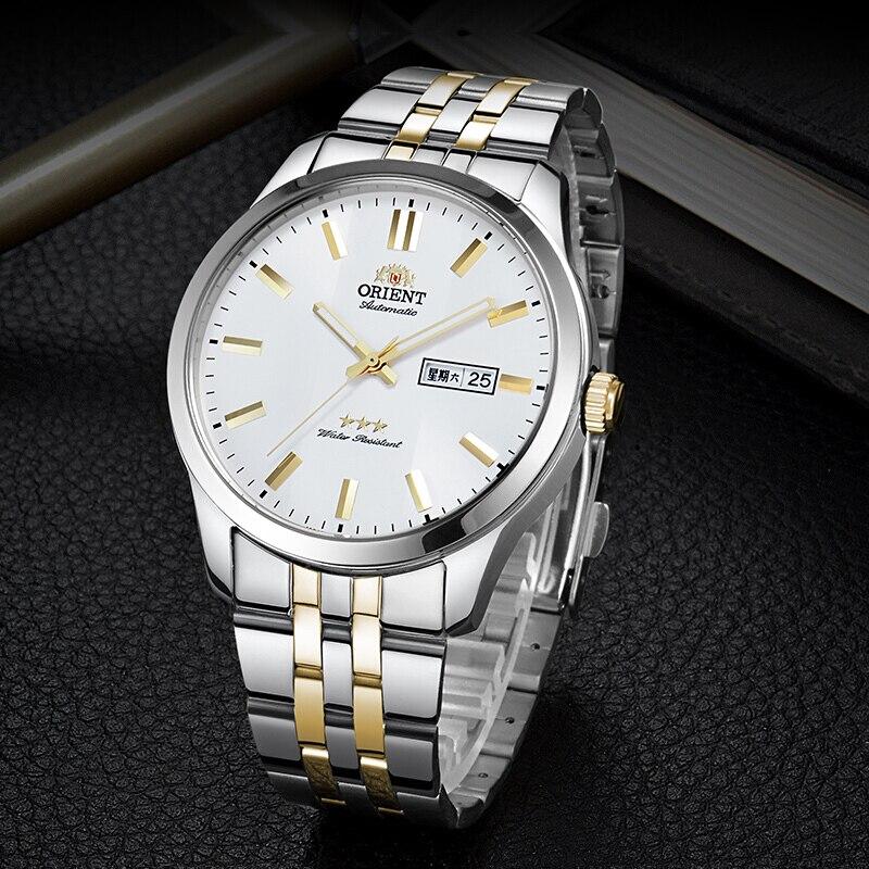 100% oryginalny Orient 3 gwiazda zegarek biznes automatyczne mechaniczne zegarka mody zegarki męskie 5 Bar odporność na wodę ręcznie świetlny