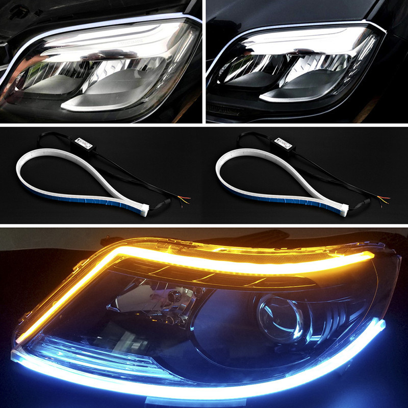Quality In 2019 Latest Design 2pcs Dynamic Drl 30 45 60cm Universal Car Led Drl Daytime Running Light Flowing Runs Headlight Led Strip Brake Turn Signal Light Superior