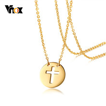 Vnox Women's Cross Prayer Necklace Gold Tone Stainless Steel Coin Charm Pendants Necklaces Female Collar(China)