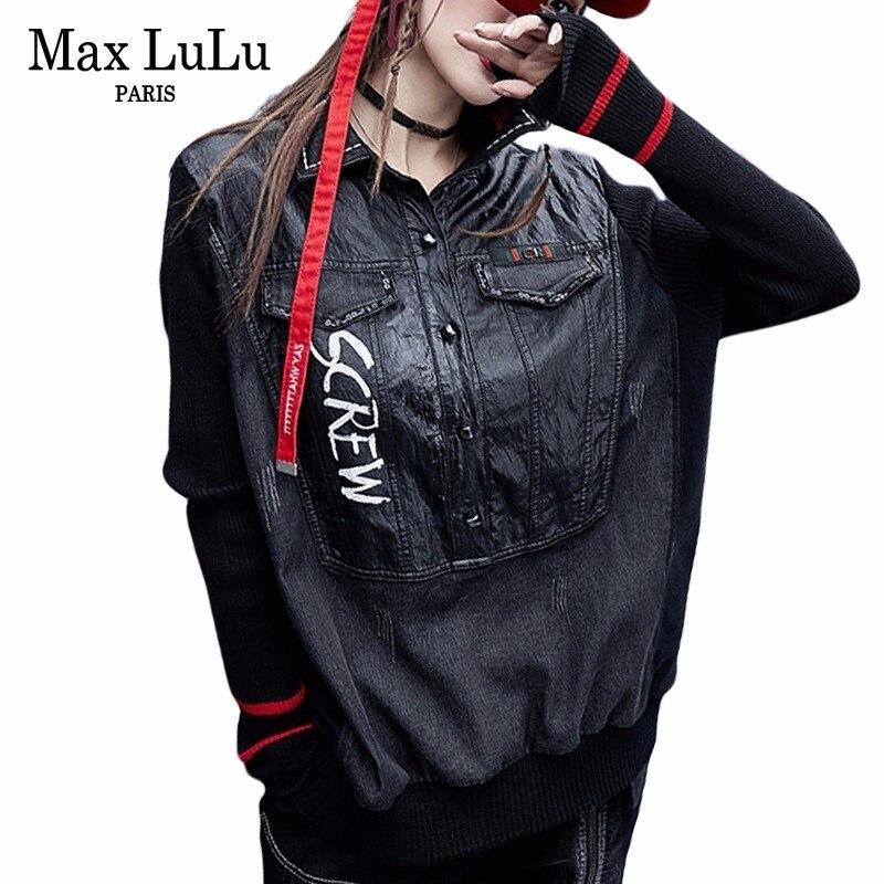 Max LuLu 2018 di Modo Coreano Lavorato A Maglia Vestiti Delle Ragazze In Pelle Ritagliata Top Tee Camicette Delle Donne Del Denim T-Shirt di Moda Donna Inverno Tshirt