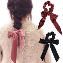 Vintage mujeres pelo bufanda DIY Bowknot Streamers Scrunchies coleta titular de las cuerdas de pelo Sweet Girls Hair Ties para niñas boda