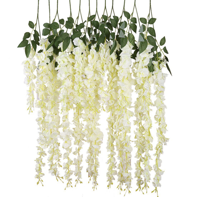 New Artificial Silk Wisteria Vine Ratta Silk Hanging Flower Wedding Decor,6 Pieces,(White)