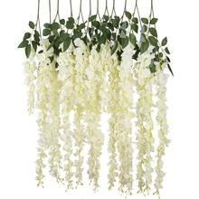 New Artificial Silk Wisteria Vine Ratta Silk Hanging Flower Wedding Decor,6 Piec