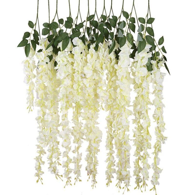 Nova seda artificial wisteria videira ratta seda pendurado flor decoração do casamento, 6 peças, (branco)