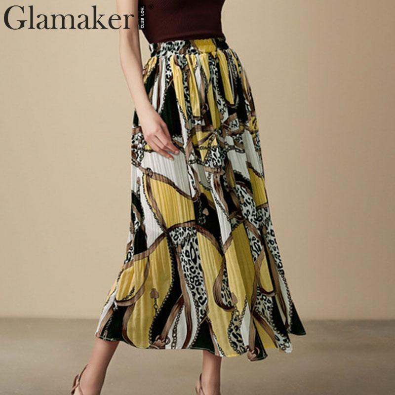 Glamaker Vintage Yellow Leopard Print Pleated Skirt Summer Chiffon Long Skirt Women Bottoms Commuting Lined Chain Korean Skirt