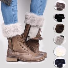 MISS M Womens Winter Warm Crochet Knit Fur Trim Leg Warmers Cuffs Toppers Boot Socks Knitted Female